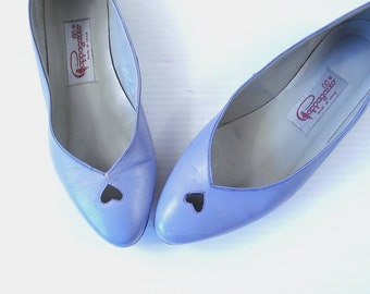 vtg 80s Lilac CUT OUT HEARTS flats 6 cute kitschy shoes Kawaii shoes retro dolly hipster indie purple