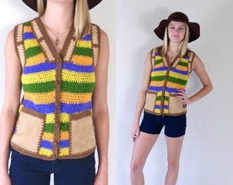Half Off vtg 70s colorful striped PATCHWORK crochet knit HIPPIE VEST Small suede leather pockets granny sweater boho retro