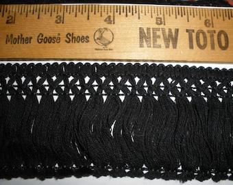 """Black 2.25"""" wide Cotton Fringe trim retro BTY yards sewing crafts costume home decor Boho yardage"""