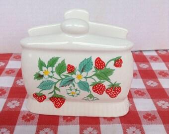Vintage Ceramic Napkin Holder / Strawberries Flowers / Mail Holder Caddy / Vintage Kitchen Decor