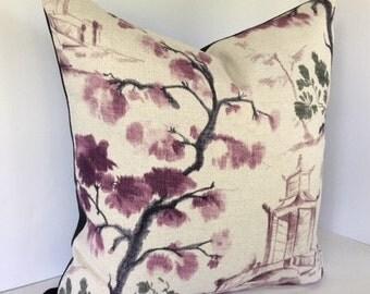 Oriental Toile Decorative Pillow Cover