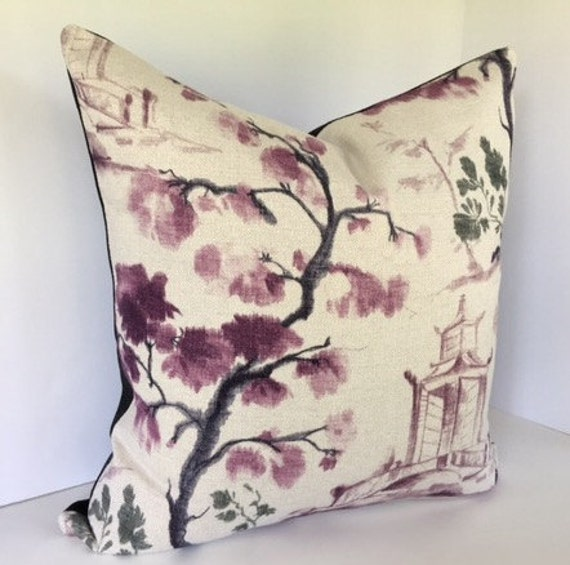 Purple oriental toile decorative pillow cover - Toile decorative murale ...