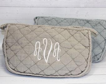 Monogram Makeup Bag - Toiletry Bag - Stone-washed Cosmetic Bag - Monogram Cosmetic Bag - Quilted Bag - Fabric Makeup Bag - Bridesmaid Gift