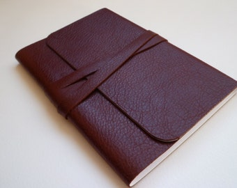 Travel Journal Leather Journal Leather Notebook Leather book. A Lovely Rosewood/Reddish Brown Soft Leather.