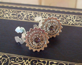 Gear Cuff Links (CL601) - Steampunk Style - Button Covers Snap-On - Swarovski Crystal - Shiny Silver Layered Gears