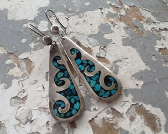 Vintage Sterling Silver Inlay Earrings
