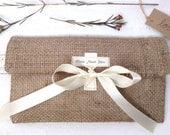Bridesmaid Clutch-Burlap with Ribbon