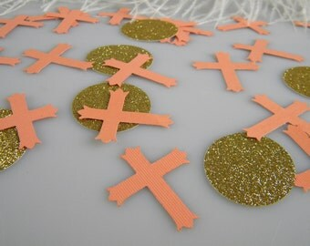 Cross Confetti Baptism Decoration - Christening First Communion Table Decoration - Gold and Peach - 100 pieces