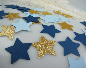 Twinkle Little Star baby shower Confetti Gold & Blue Party Decoration / Glitter  / 1st Birthday / Its a Boy Baby Shower / 100 pcs / Stars