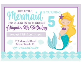 Mermaid Invitation Printable or Printed w/ FREE SHIPPING ANY Hair Color/Skin Tone - Purple Teal Mermaid Collection