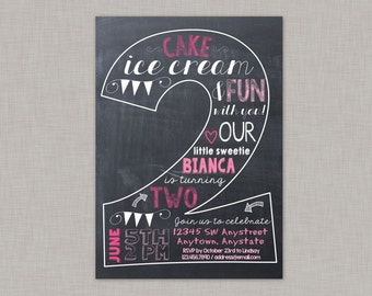 Second Birthday Invitation, 2nd Birthday Invitation, Girl Birthday Invitation