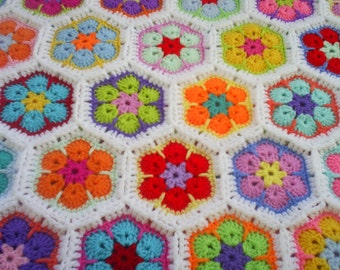 crochet colorful bright african flower newborn babyblanket