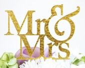 "Mr & Mrs"" Silhouette Wedding Cake Topper Pick - High Gold Glitter Flake Finish"