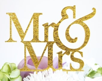 "Mr & Mrs"" Silhouette Wedding Cake Topper Pick - High Gold Glitter Flake Finish"