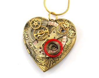 "Steampunk Heart Necklace Locket ""The Very Beating of My Heart"""