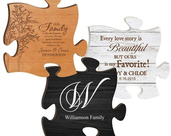 Personalized Puzzle PIece - Personalized Sign - Engraved Pallet Wood Sign - Wedding Gift - Vintage Wall Sign - Housewarming Gift - Plaque