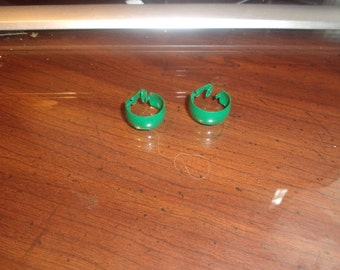 vintage clip on earrings green enamel metal hoops