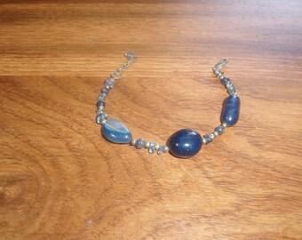 vintage bracelet blue glass