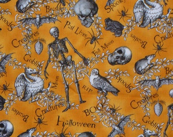 "All Hallows Eve, Halloween Fabric, Halloween Motifs, Halloween Words, Skeletons and Bats, Dragons and Rats, Skulls and Spiders,  34"" by 44"""