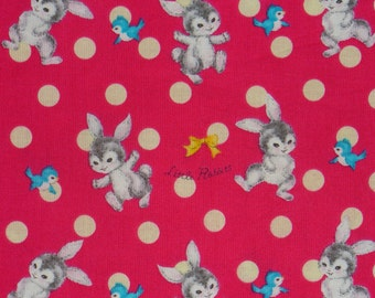 Dear Little World Fabric,  Rabbits and Birds, Vintage style, Rabbits & Friends, Pale Red Background, Japanese Fabric, By the Yard, Cotton