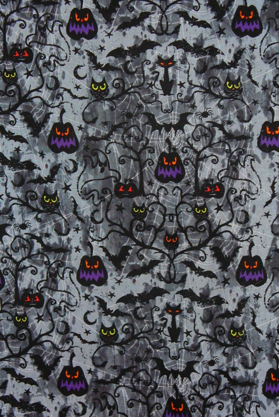 Halloween Fabric, 3 yards, Spooky Owls, Jack O Lanterns, Bats and Cats, Black Cats, Spider Webs, Spooky Scenes,  Cotton Fabric