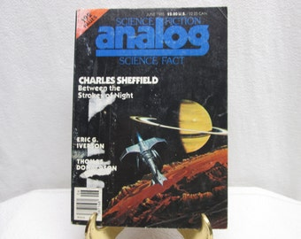 Analog Science Fiction Science Fact, June 1985, Charles Sheffield, paperback books magazine