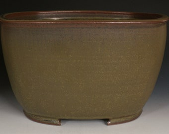 Square Cascade Bonsai Planter with Rounded Corners and Iron Green Glaze