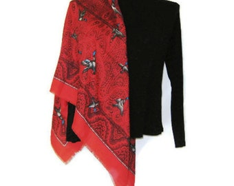 1970s Red Shawl Large Square Scarf Red Wrap Scarf Red Paisley Shawl Scarf with Ducks Red Square Wrap Monique Martin  Black Red Paisley Scarf