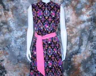60s Maxi Dress Pink Psychedelic Dress Pink Print Dress Black & Pink Dress 1960s Sleeveless Maxi Dress Belted Maxi Dress Long Print Dress