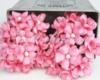NEW ARRIVAL : 30 Pink Small Handmade Mulberry Paper Flowers