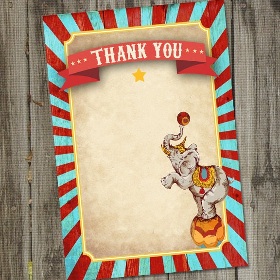 vintage circus birthday printable 4x6 thank you card