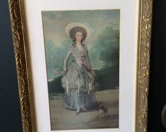 Vintage Framed Victorian Print / Romantic French  / Gold Ornate Wood Frame / French Country