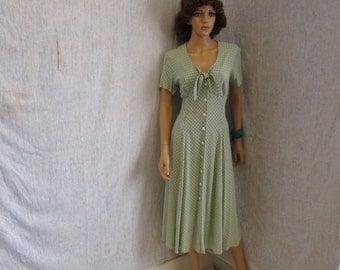 90s Lg 12 Cannes Rayon A Line Day Dress Sage Green Polka Dot