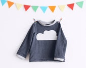 Happy cloud kids' tshirt long sleeve. Sizes from 2 to 10 years. Made in Italy. Made to order.