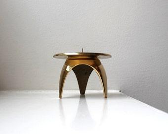 Mod Brass Tripod Candle Holder Mid Century Modern Japan