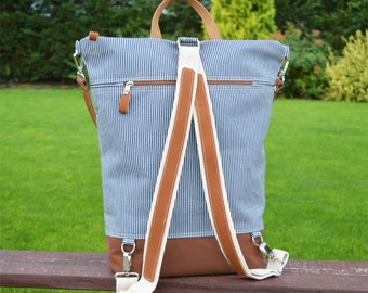 Large nautical canvas backpack, Zippered Laptop carrier, Unique Backpack, gift for college students, birthday present, available in two size