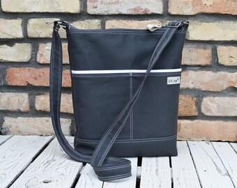Vegan Minimalist Diaper Bag, Tote Crossbody Bag, Unisex laptop bag, charcoal grey laptop carrier, handmade gift for women, Zippered bag