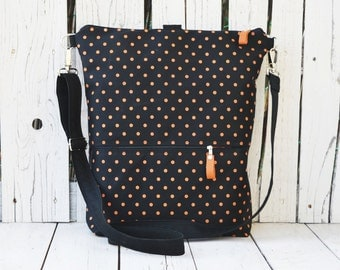 Vegan Unique Canvas City Backpack, Polka dots rucksack, Laptop Convertible Bag, Minimalist backpack, unique gift for women, birthday present