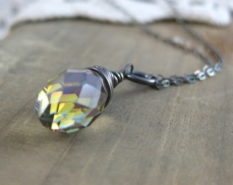 North Star Crystal Drop // Shimmering Crystal // Drop Pendant // Oxidized // Sterling Silver // Custom Length // Made to Order