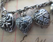 sterling silver puffy heart charm bracelet- I love you, flowers, bells, double hearts