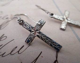 vintage sterling silver earrings -  pierced, crosses, dangle