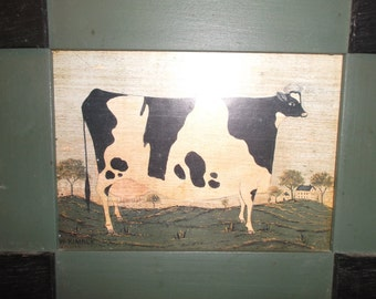 Primitive Folk Art Cow Picture Vintage Cow Print Wood Framed