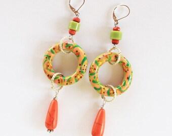 Tribal earrings, boho chic earrings, tropical jewelry, large earrings, long earrings, art earrings, painted earrings, dangle earrings