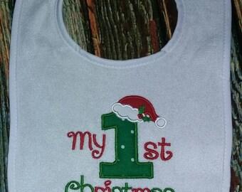 My 1st Christmas Bib, holiday bib, baby bib, my first Christmas bib