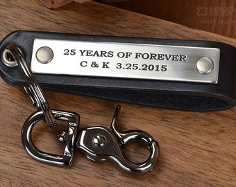 Anniversary Gift Idea - Custom Engraved Leather Keychain - Hand Crafted in USA