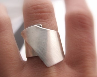 Wide Band  geometric Silver Ring Sterling Silver Modern Ring Gift for Her Simple Elegant Every Day