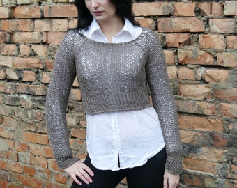 Cropped Sweater, Knit Crop Top, Cropped Chunky Sweater, Brown Crop Top, Womens Cropped Sweater, Knit Sweater