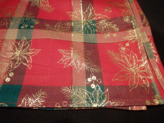Christmas Plaid Tablecloth 52 Square Gold Poinsettias