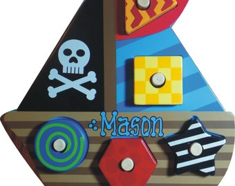 Personalized Pirate Ship Puzzle - Stephen Joseph Puzzle - Pirate Ship
