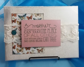 Mother's Day Card with lace and teal brad